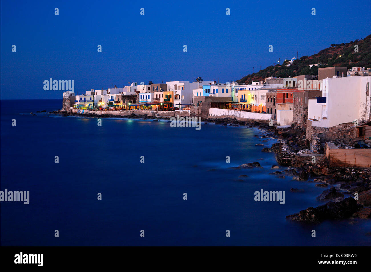 Mandraki, the 'Hora' (='capital') of Nisyros volcanic island, in the 'blue' hour. Dodecanese, - Stock Image