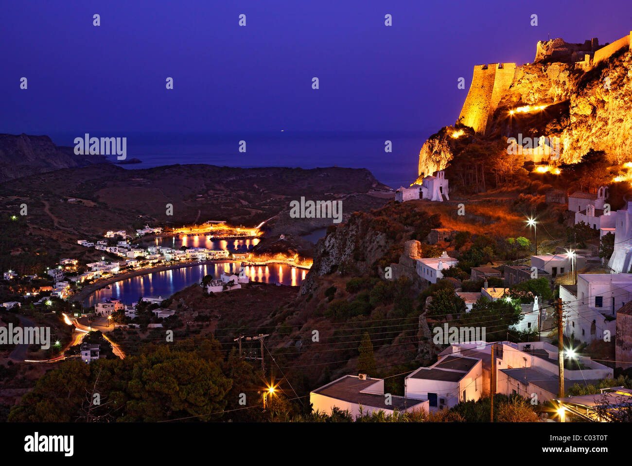 The Hora ('capital')  of Cythera (or 'Kythira') island on the left and Kapsali village in the background, - Stock Image