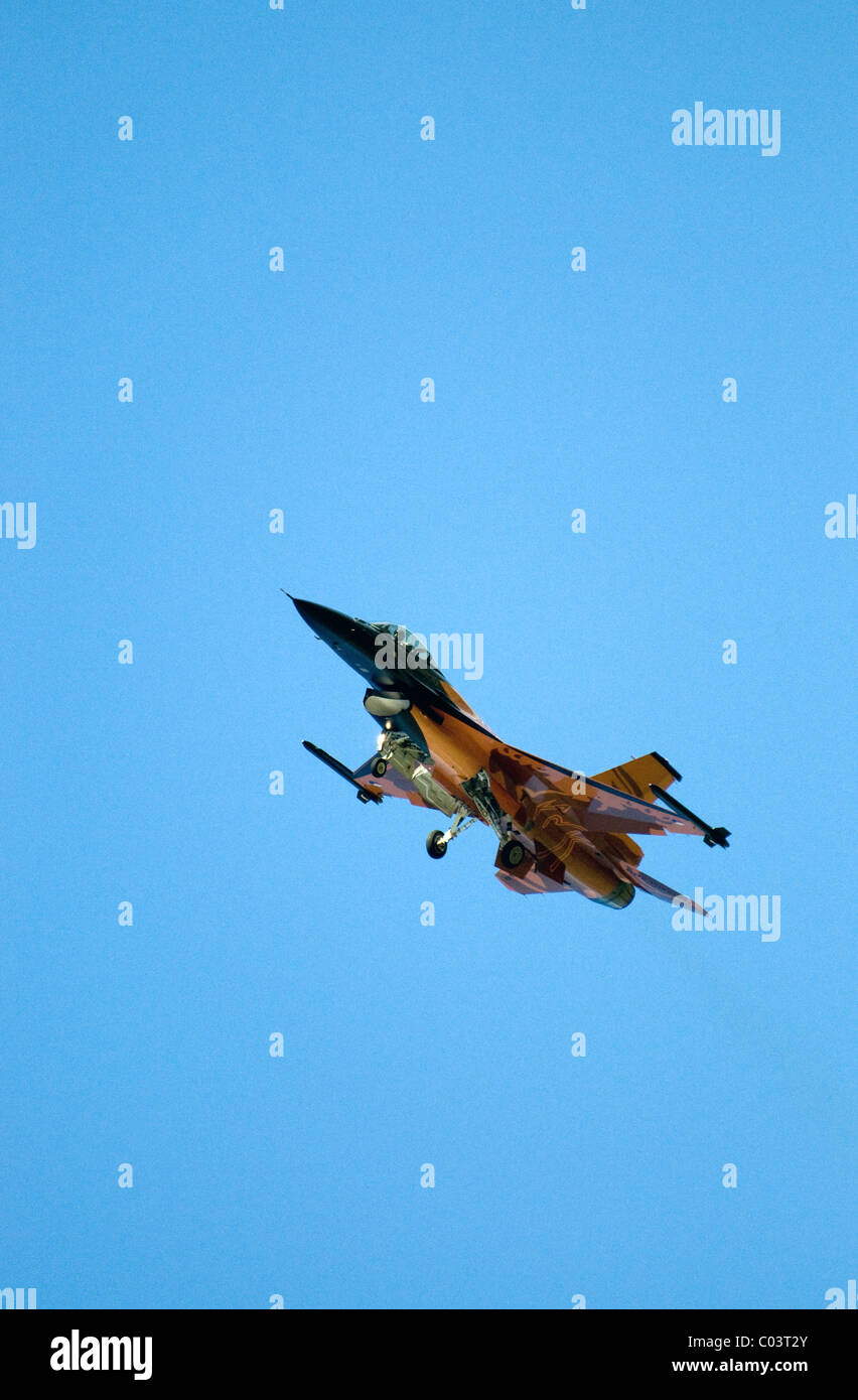 f-16 fighter ,royal air force base leuchars, scotland Stock Photo