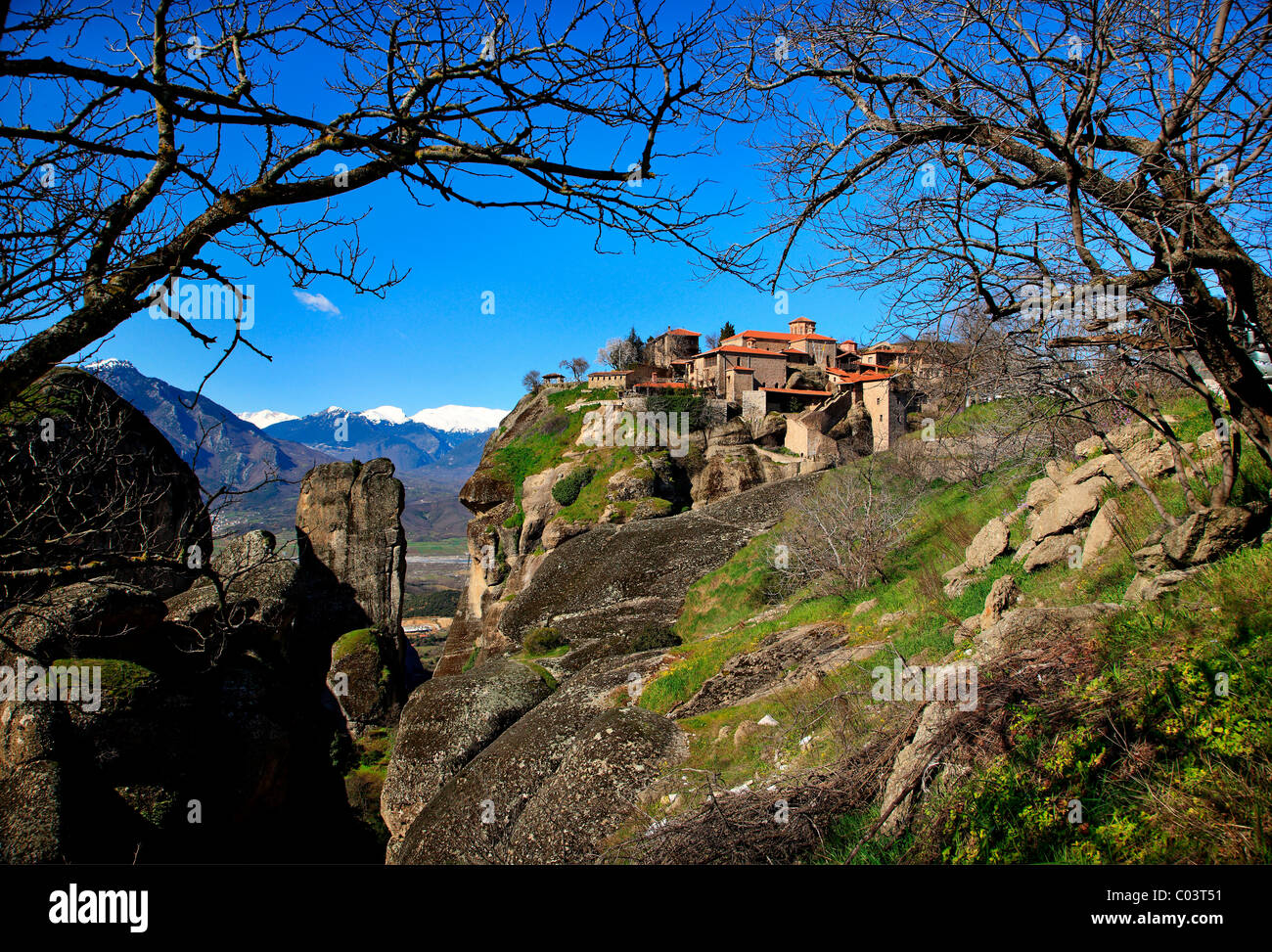 Greece, Meteora. On the upper right part the Great Meteoron monastery, - Stock Image