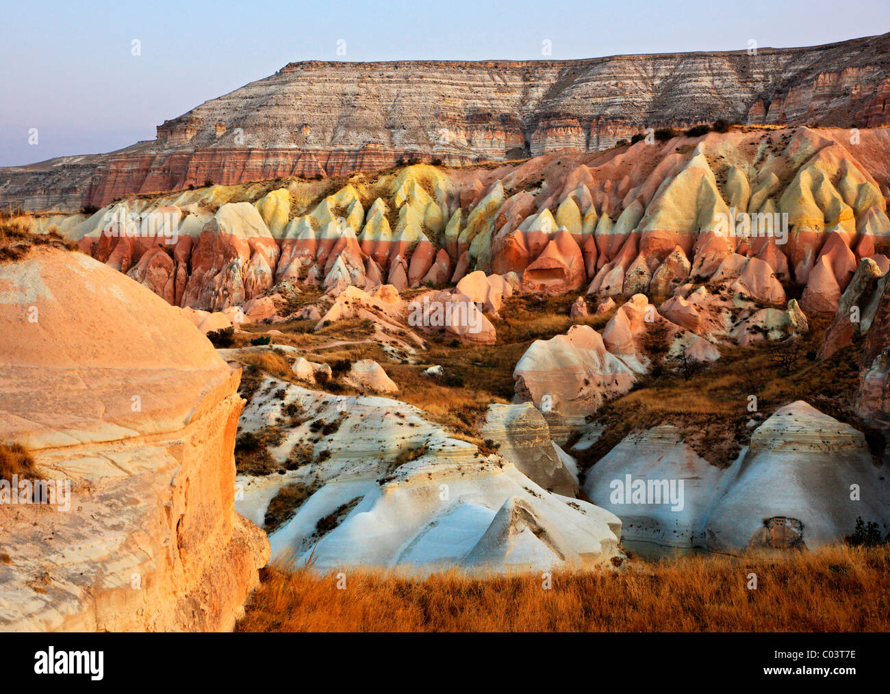 Great variety of shapes, forms and colors in the landscape of Cappadocia, Nevsehir, Turkey. Taken during a balloon - Stock Image