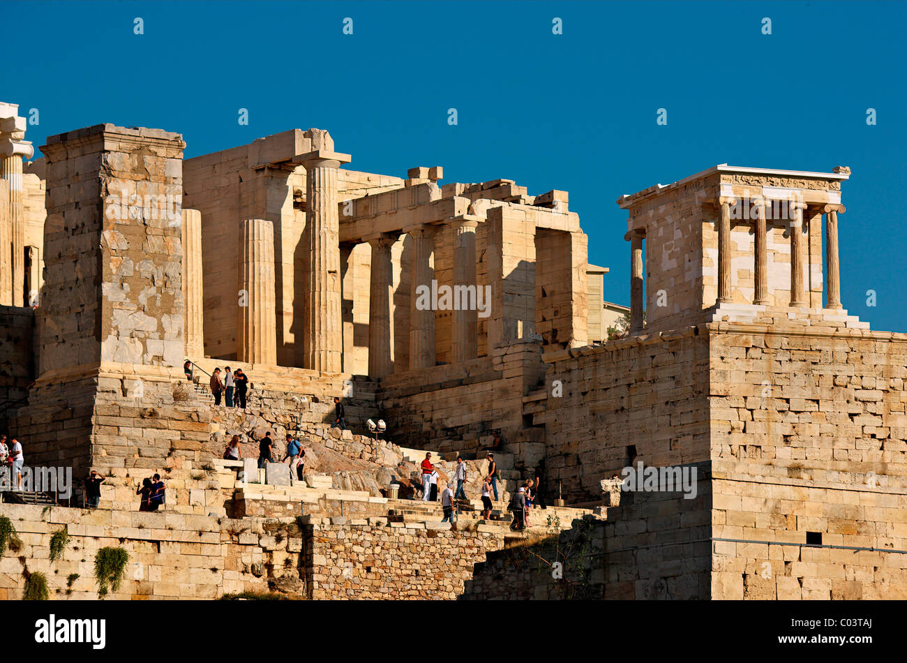 The Propylaea of the Acropolis of Athens with the temple of Athena Nike on the upper right side. Athens, Greece Stock Photo