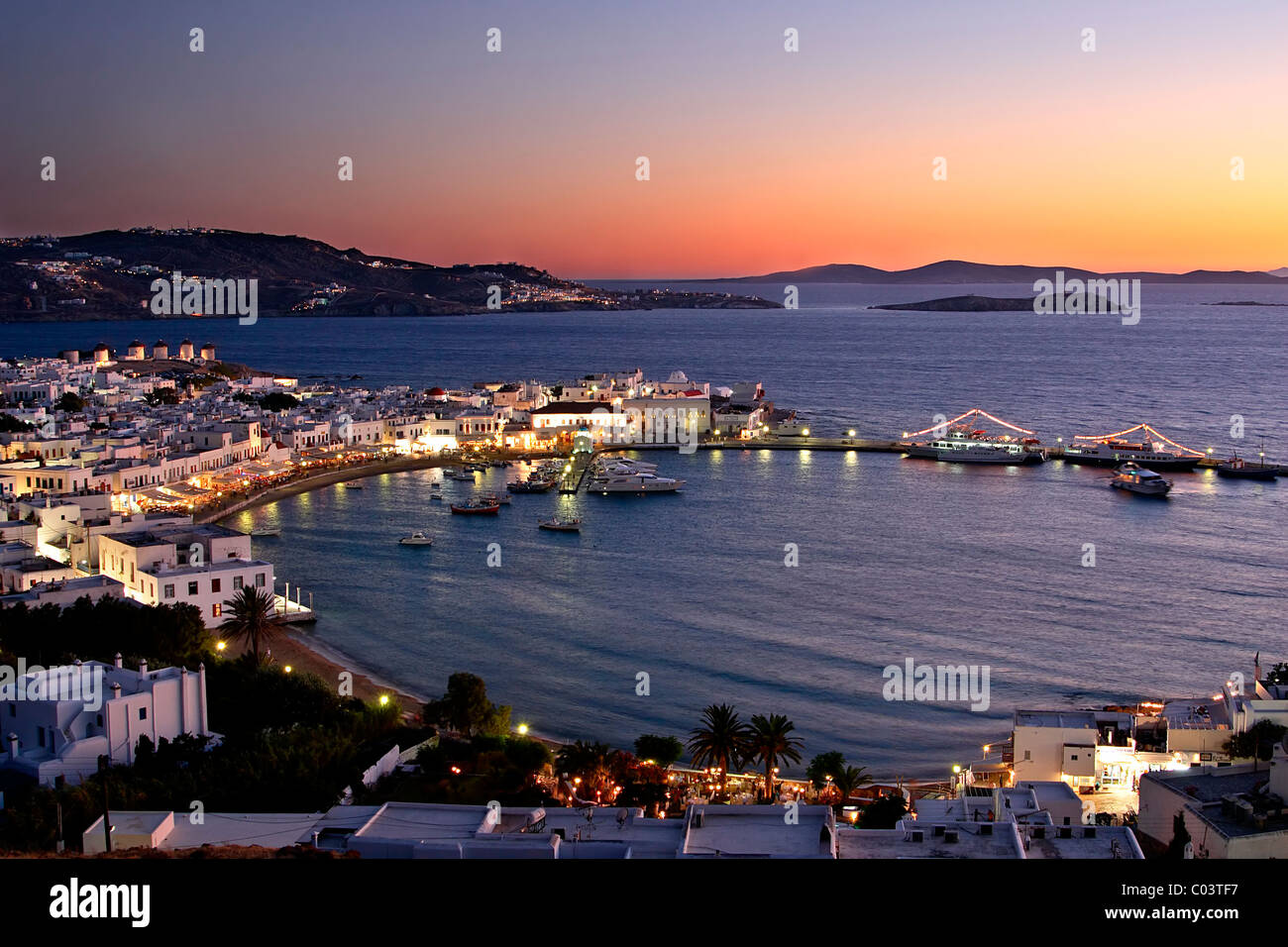 A panoramic view of the harbor of the Hora of Mykonos island, Greece. Stock Photo