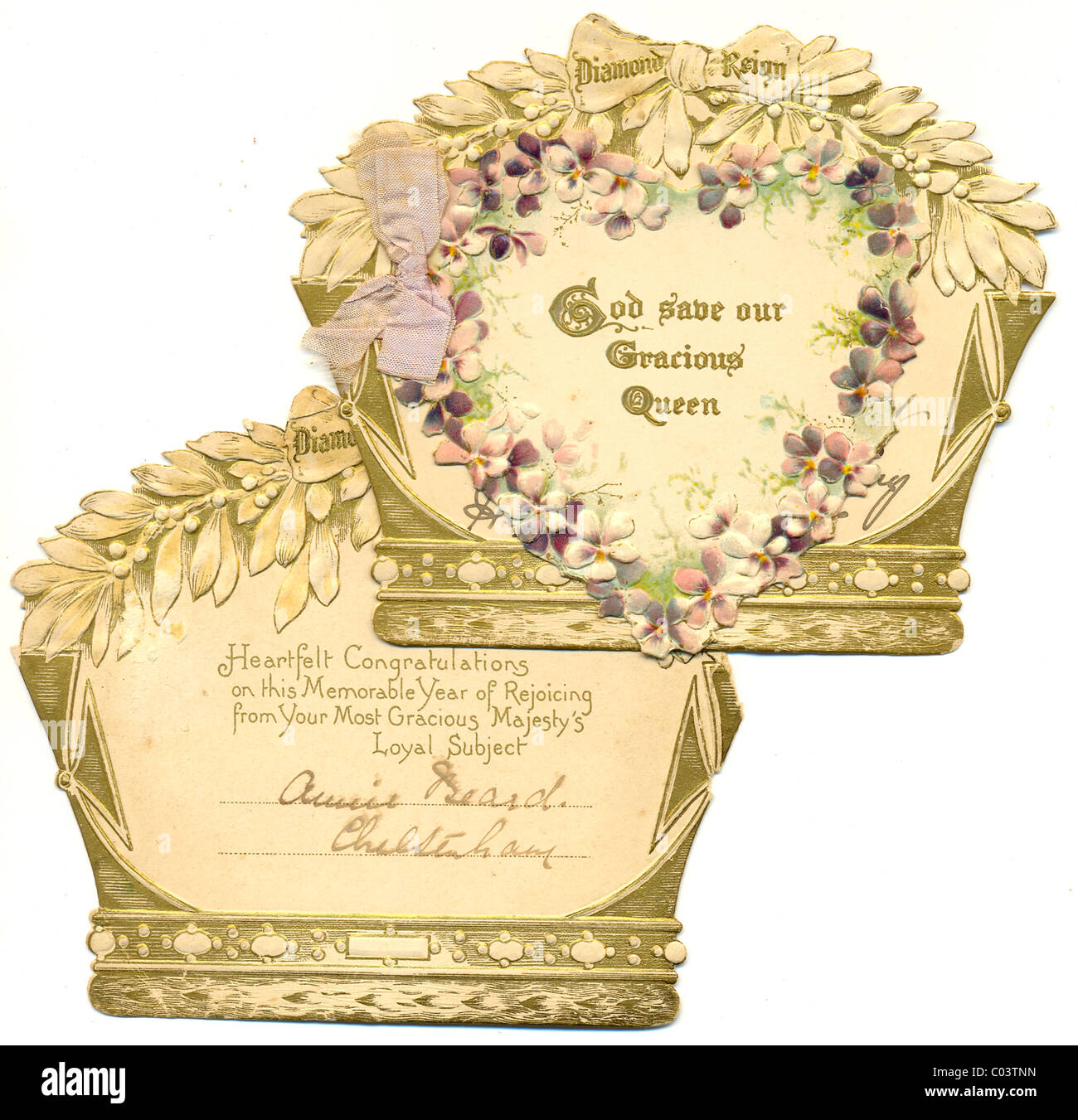 greeting card celebrating the Diamond Jubilee of Queen Victoria - Stock Image