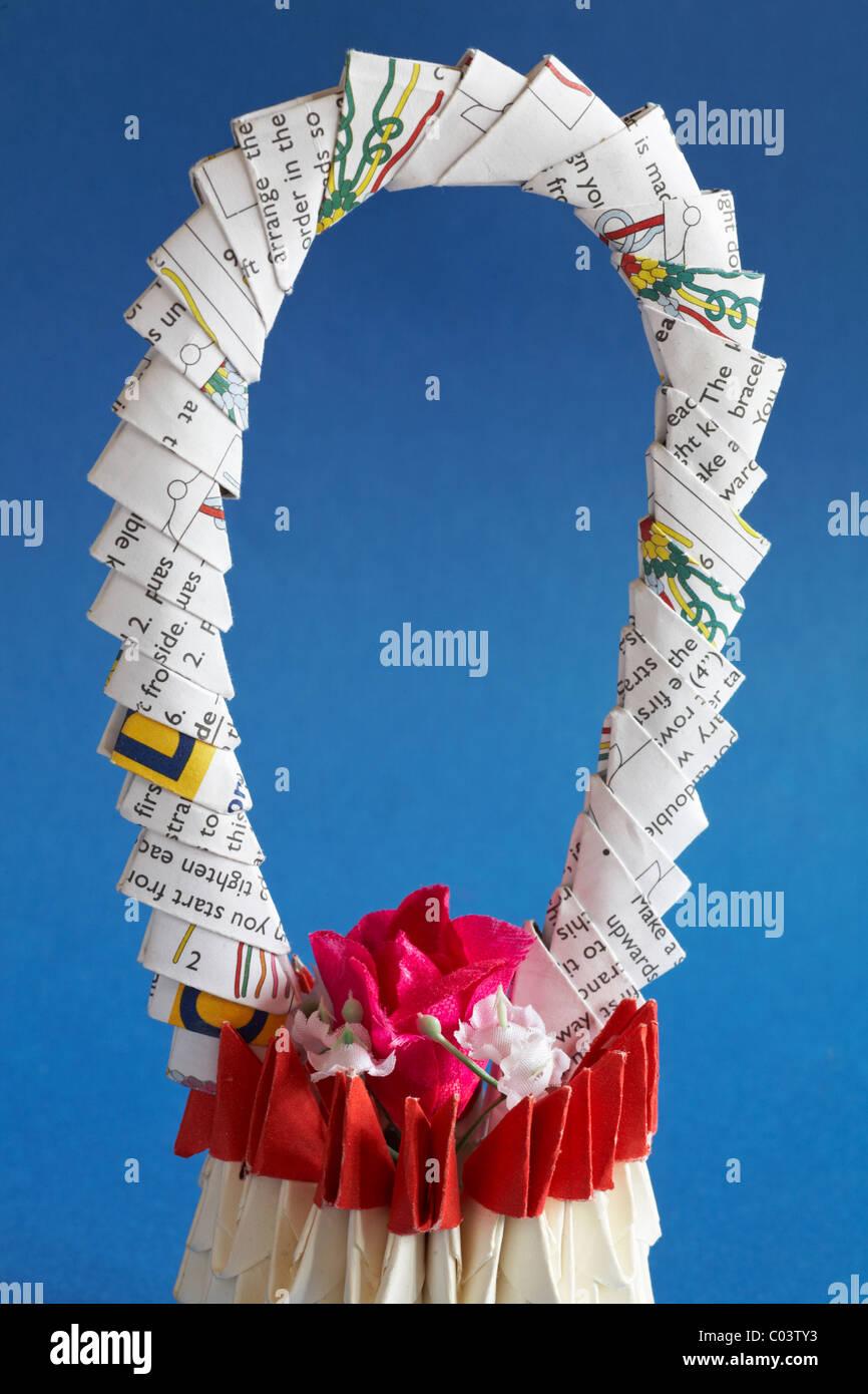 Origami Flower Basket Set Against Blue Background Stock Photo