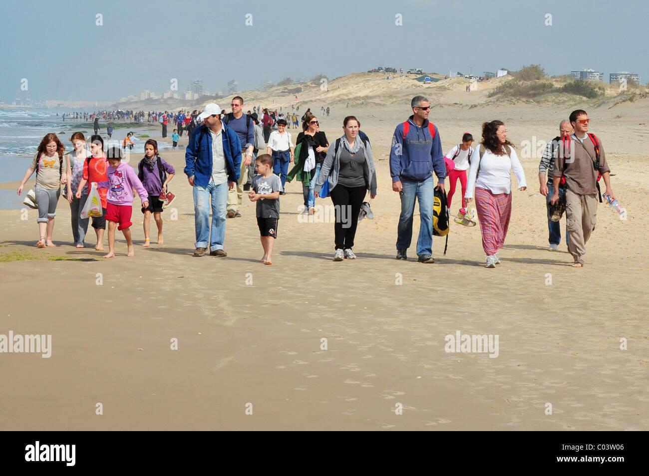 The 16 Sand Dunes March in NItzanim Beach Ashdod Israel Stock Photo