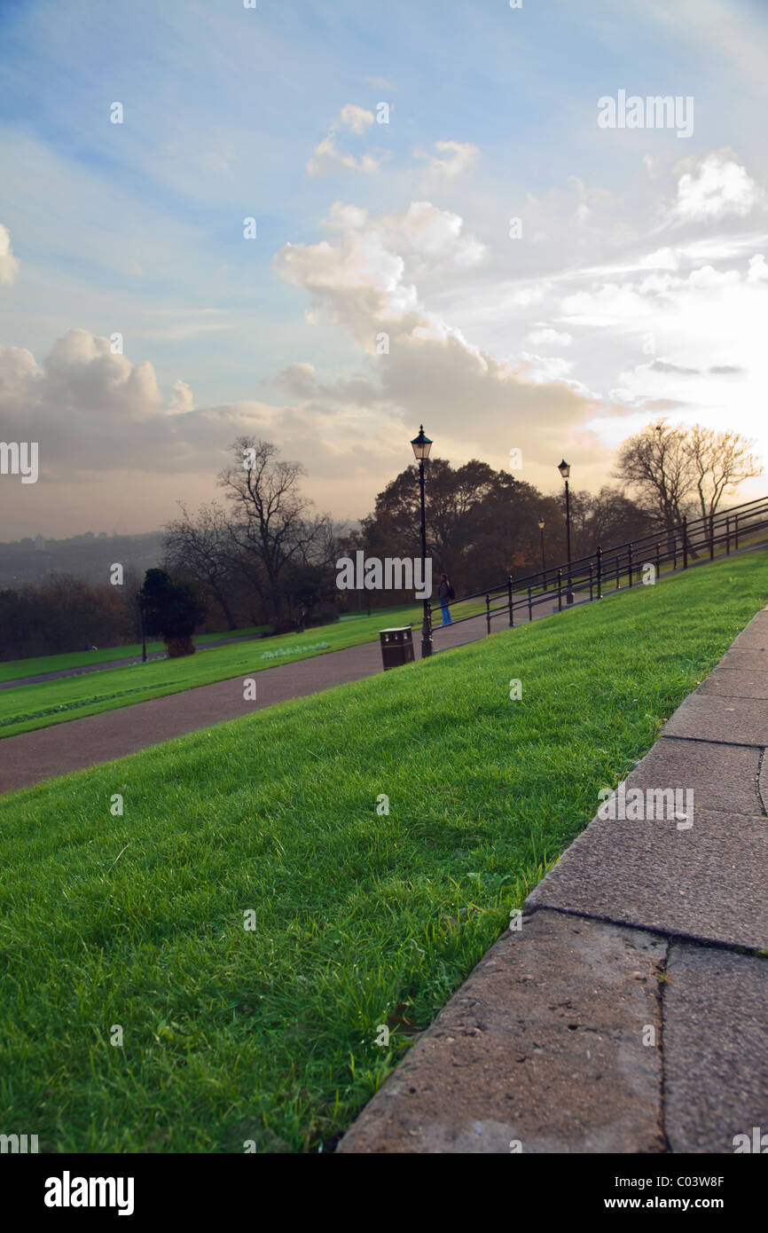 view from Alexandra palace park at sunset - Stock Image