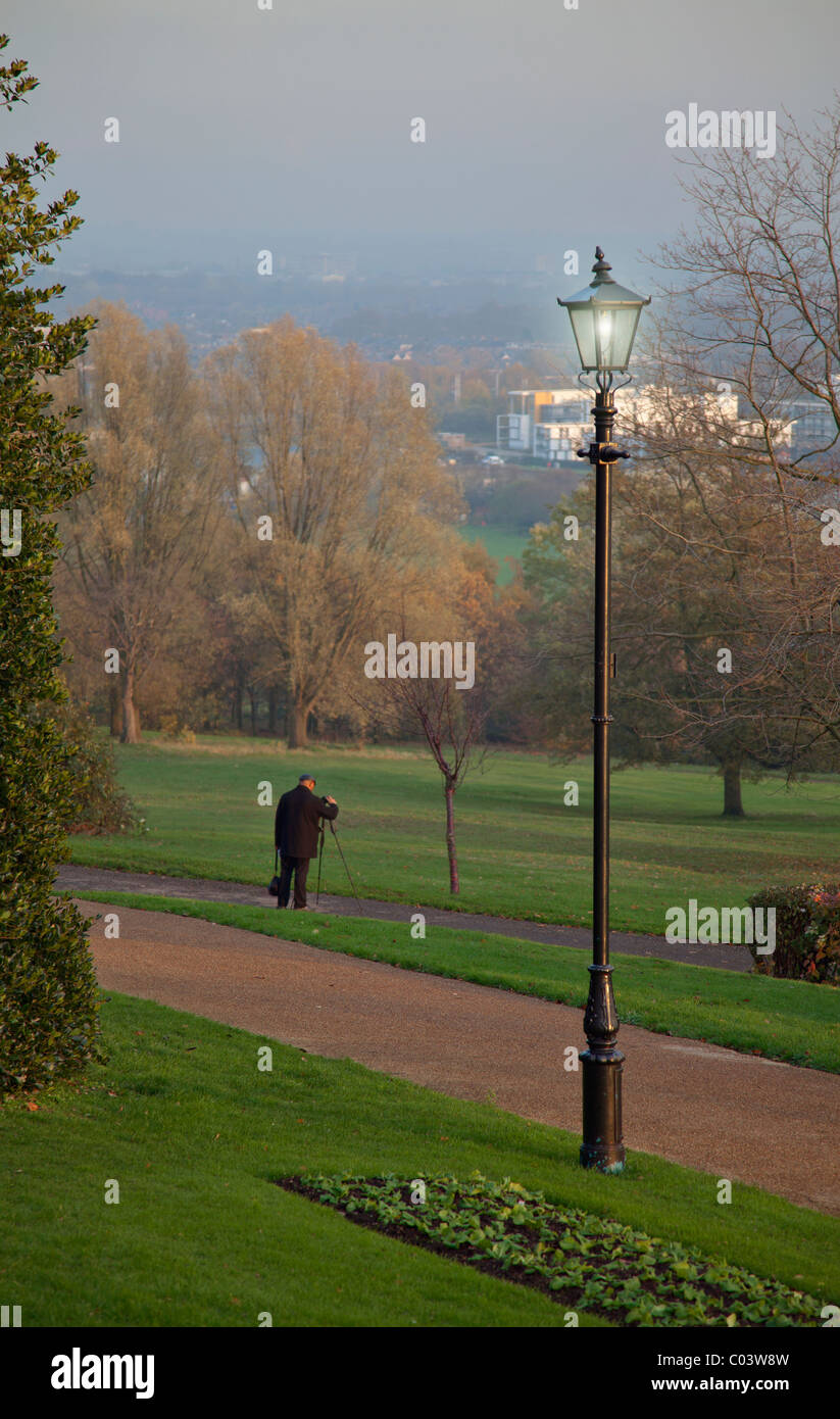 Taking pictures in Alexandra palace park - Stock Image