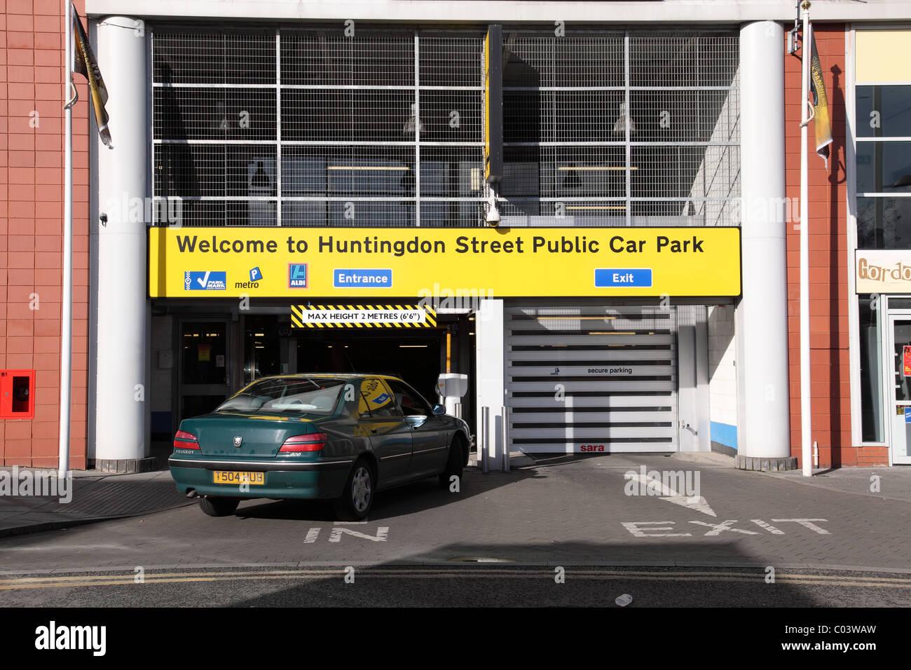 A secure public car park in a U.K. city. - Stock Image
