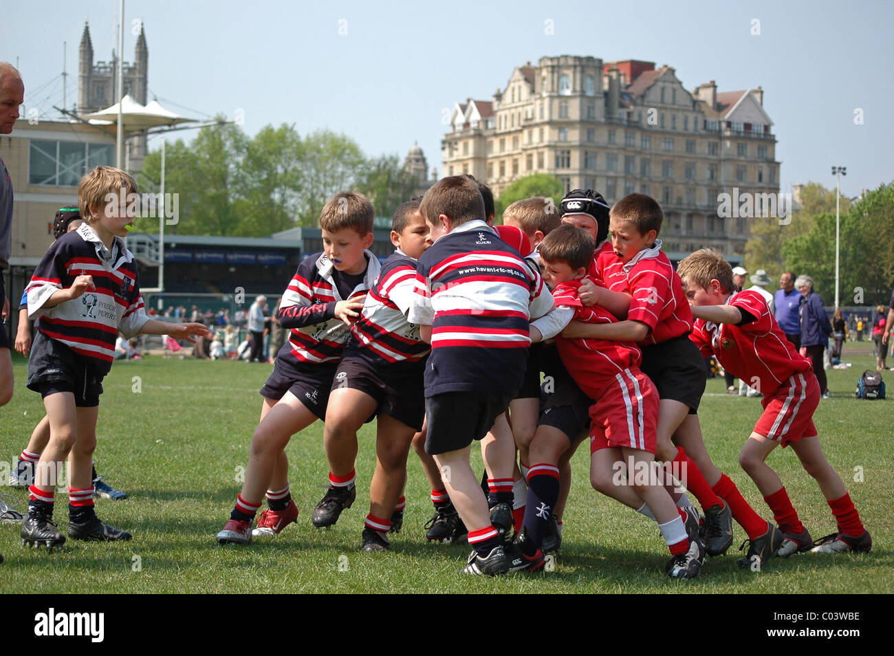 young boys playing in a rugby tournament at Bath, England, UK - Stock Image