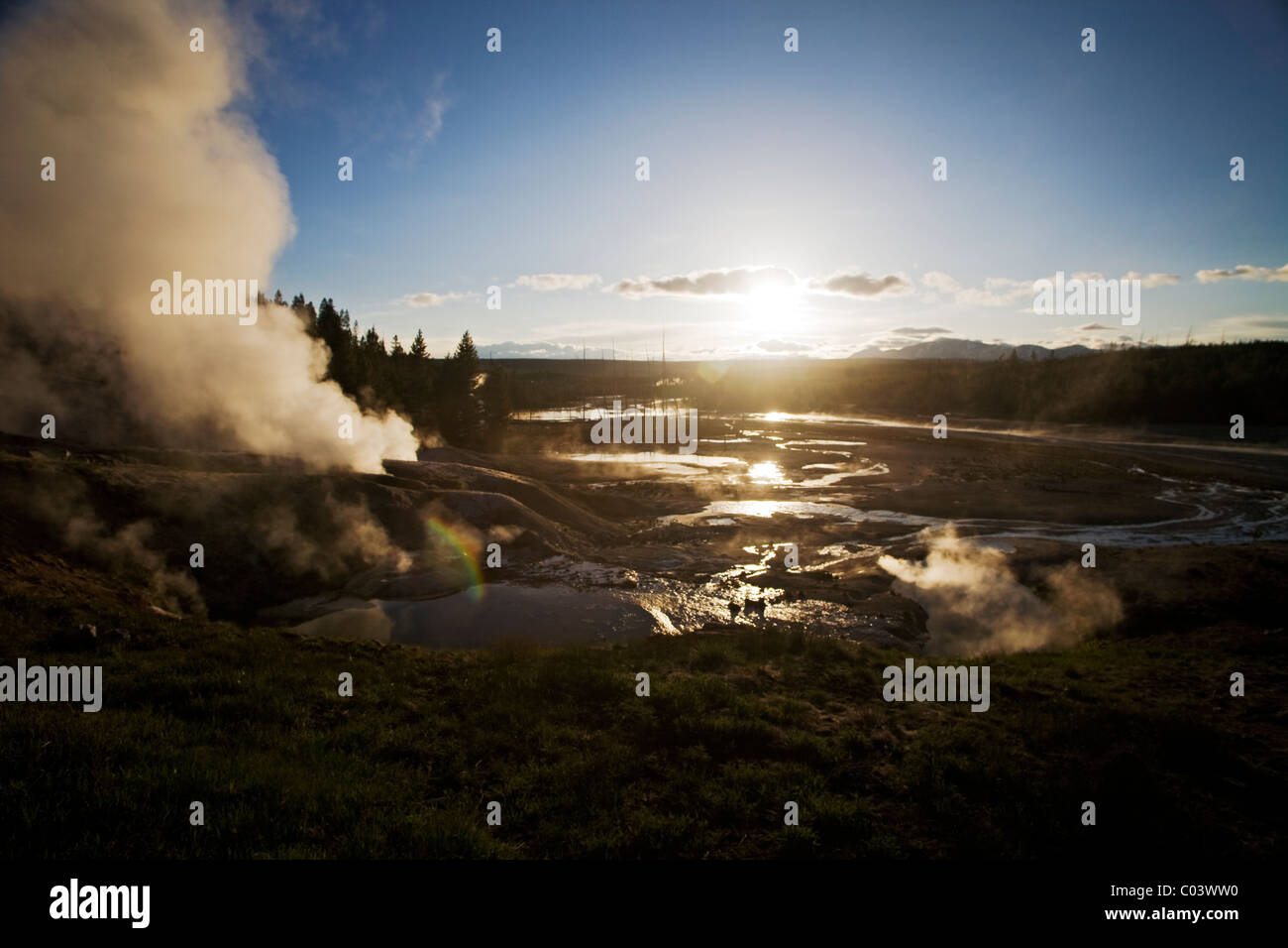 Black Growler steam vent and view over Porcelain Basin, Norris geothermal area, Yellowstone national park, Wyoming, - Stock Image