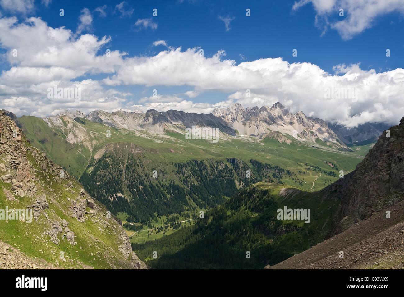 summer view of San Pellegrino Valley with Monzoni mountain in val di Fassa, Italian dolomites. Photo taken with Stock Photo