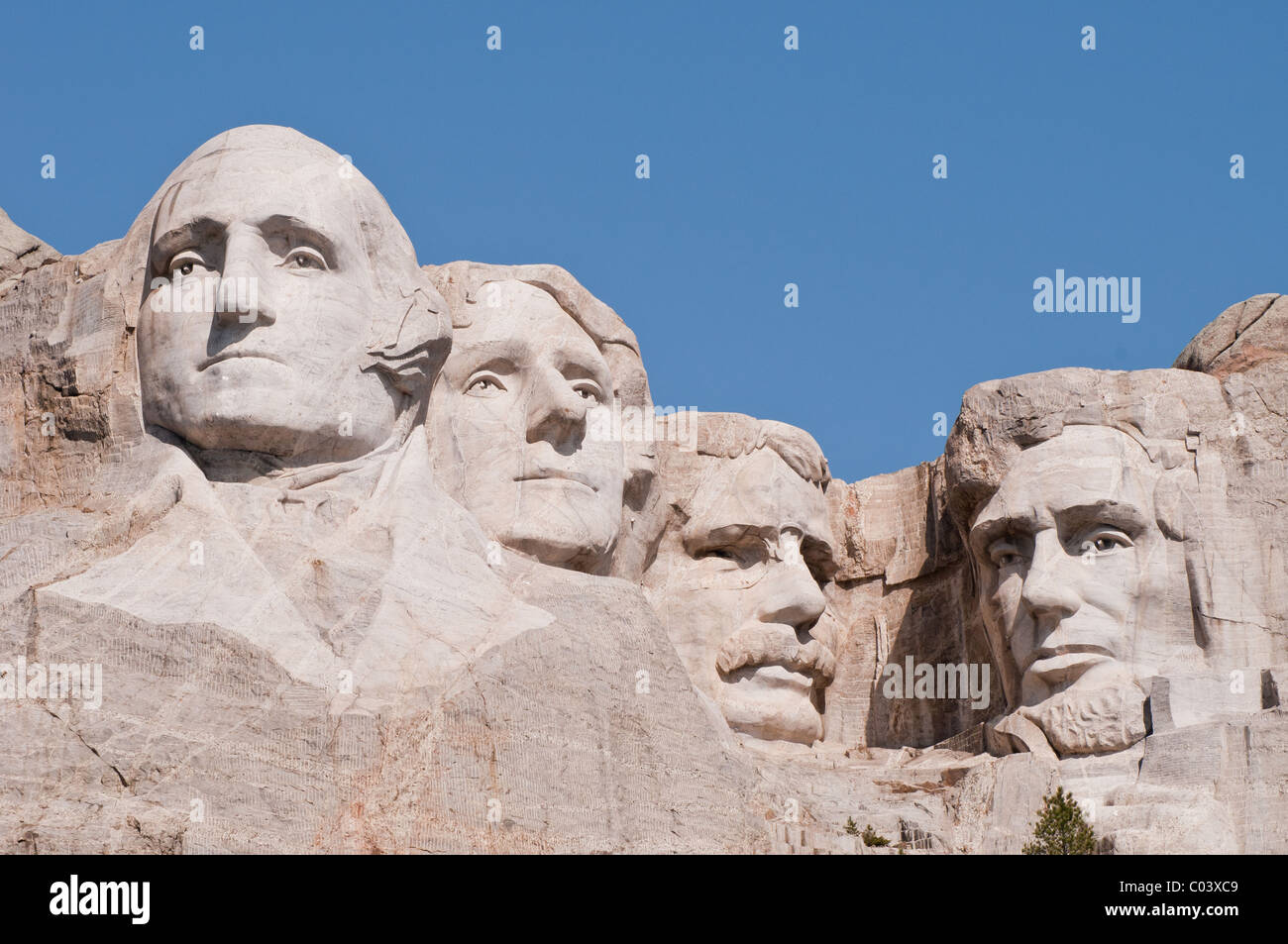 Faces of Presidents at Mount Rushmore - Stock Image