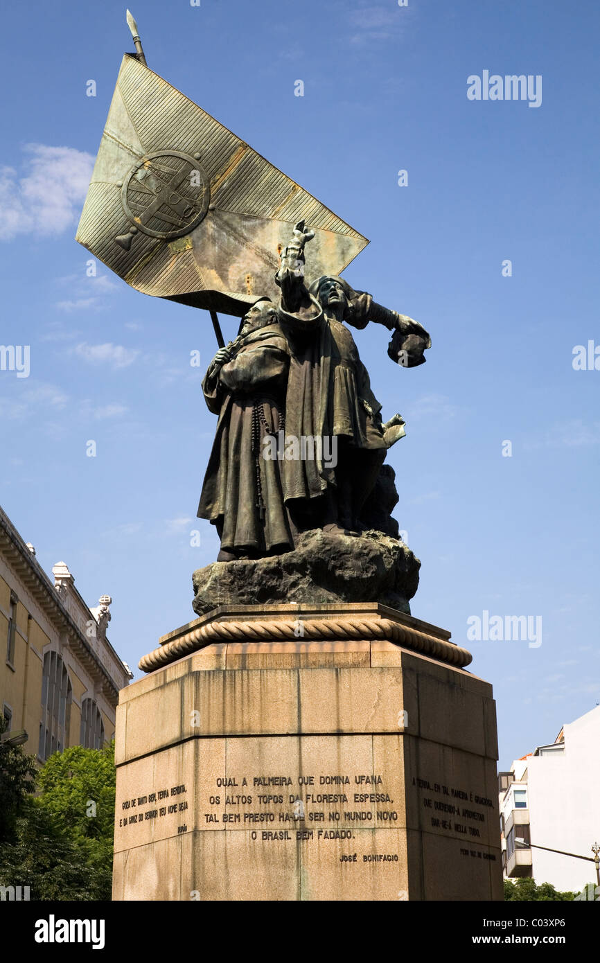 A statue celebrates the foundation of Brazil in Lisbon, Portugal. - Stock Image