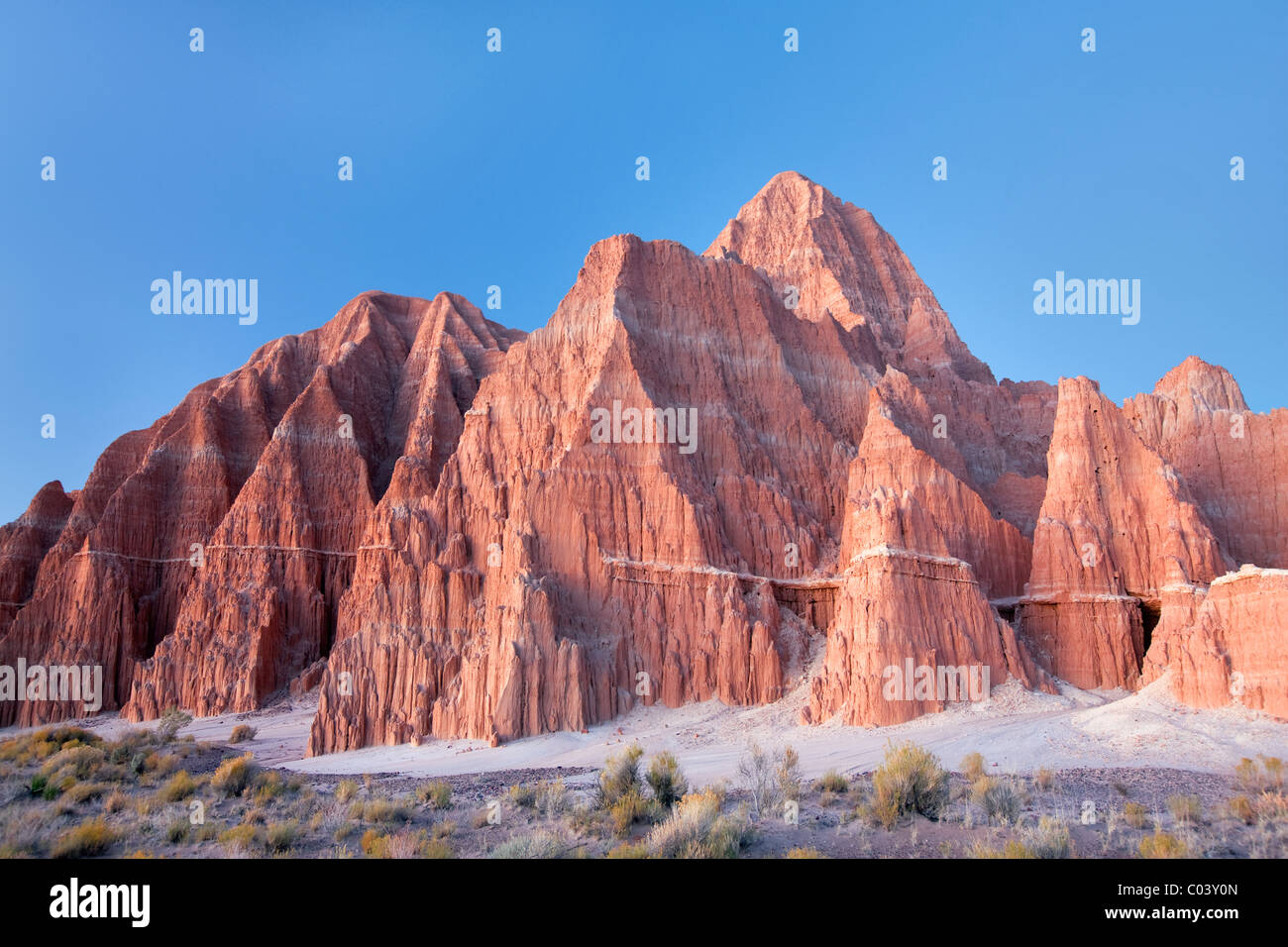 Eroded clay formations just before sunrise. Cathedral Gorge State Park, Nevada - Stock Image