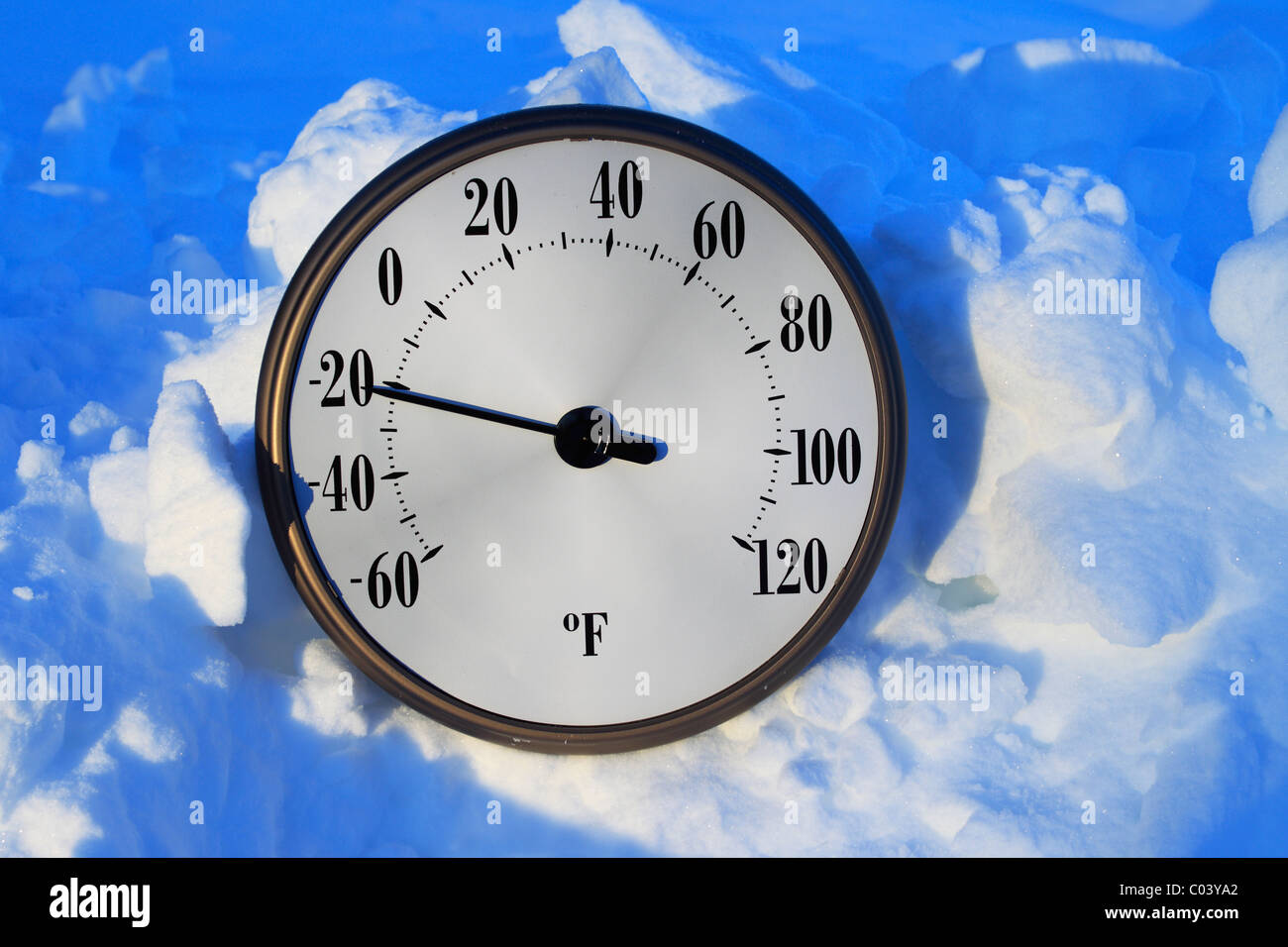A Temperature Gauge In The Snow Registering Greater Than 20 Degrees Below Zero Fahrenheit