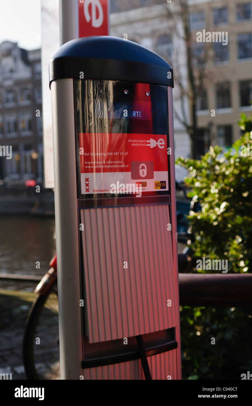 Electric car charging station, Amsterdam, the Netherlands - Stock Image