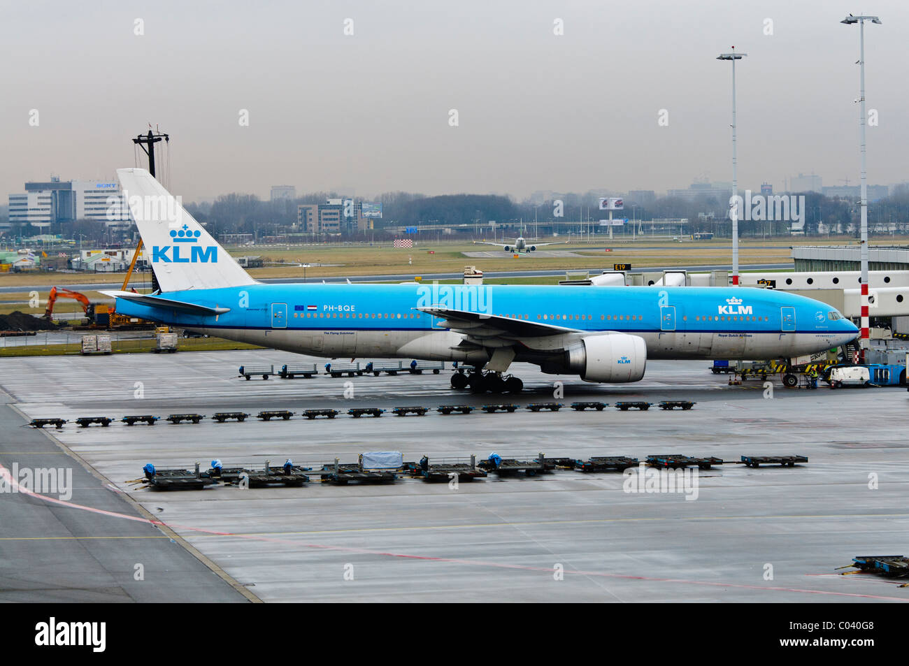 Air France KLM plane on the apron of Amsterdam Schiphol Airport Stock Photo