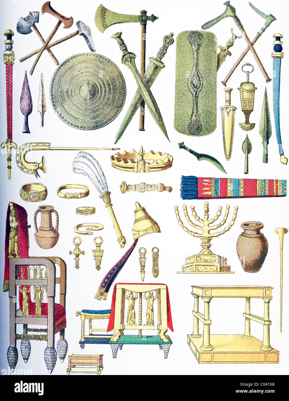 The objects pictured are from ancient times: European, Sarmatian, Assyrian, and Jewish. - Stock Image