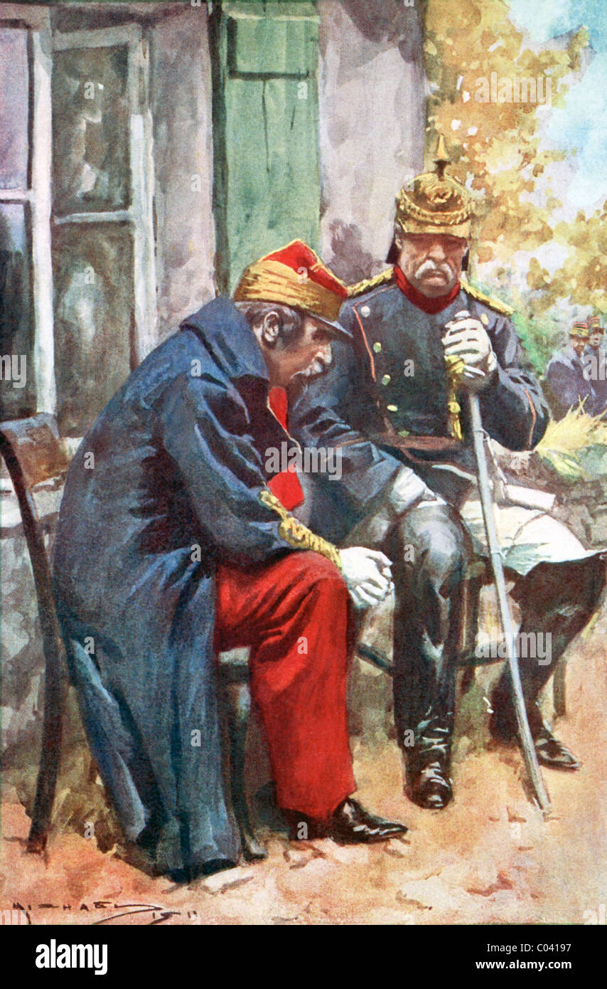 As Napoleon III mulled the provisions of surrender, he was met by Bismarck and the two talked outside a weaver's - Stock Image