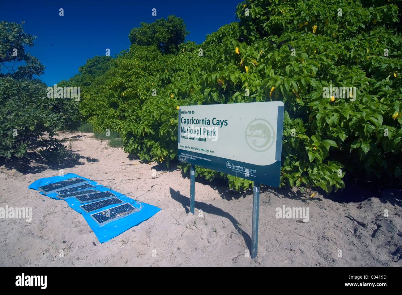 Solar panels charging camping fridges, North West Island, Capricornia Cays National Park, Great Barrier Reef, Australia - Stock Image