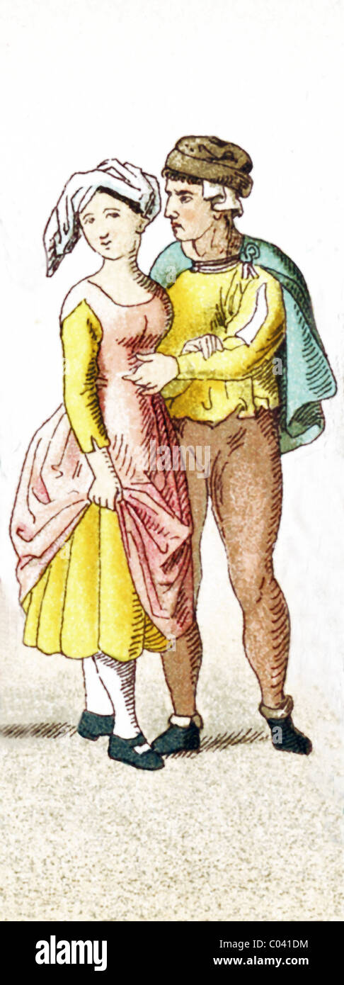 The figures represented here are Germans between A.D. 1450-1500. They are a female peasant and a male peasant. - Stock Image