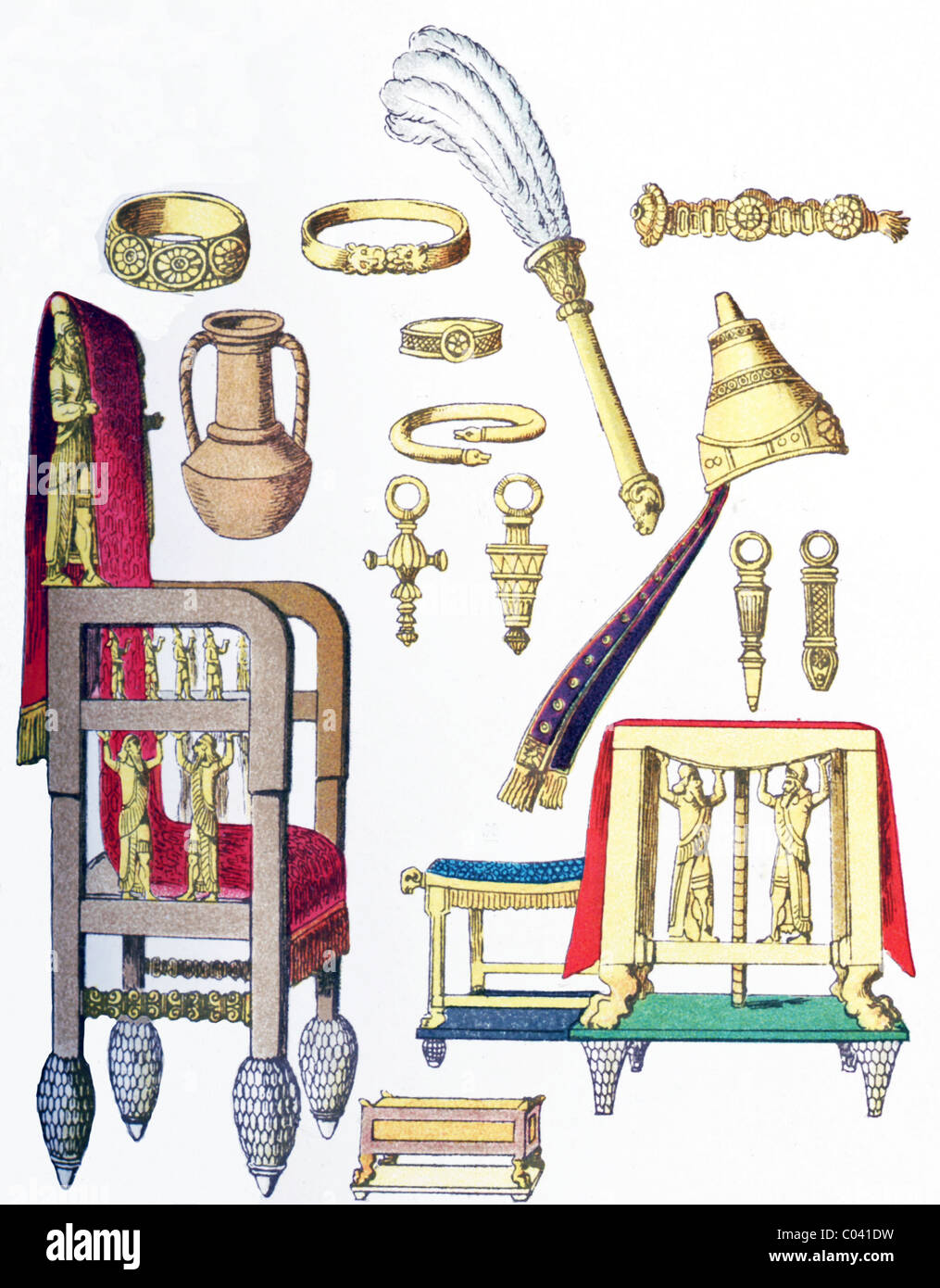 Ancient Assyrian items: four armlets, fan, diadem, water vessel, four ear pendants, tiara, throne, footstool, seat, - Stock Image