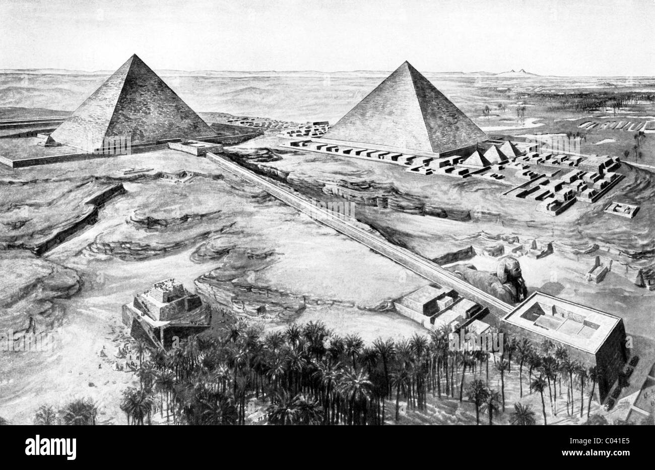 This early 1920s illustration shows the first and second pyramids at Giza in Lower Egypt, with the Great Sphinx - Stock Image
