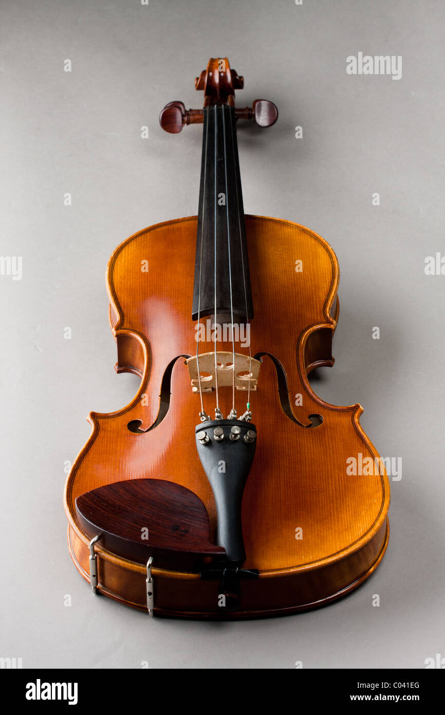 Classical violin or fiddle isolated on grey background as seen from the front of the instrument. - Stock Image