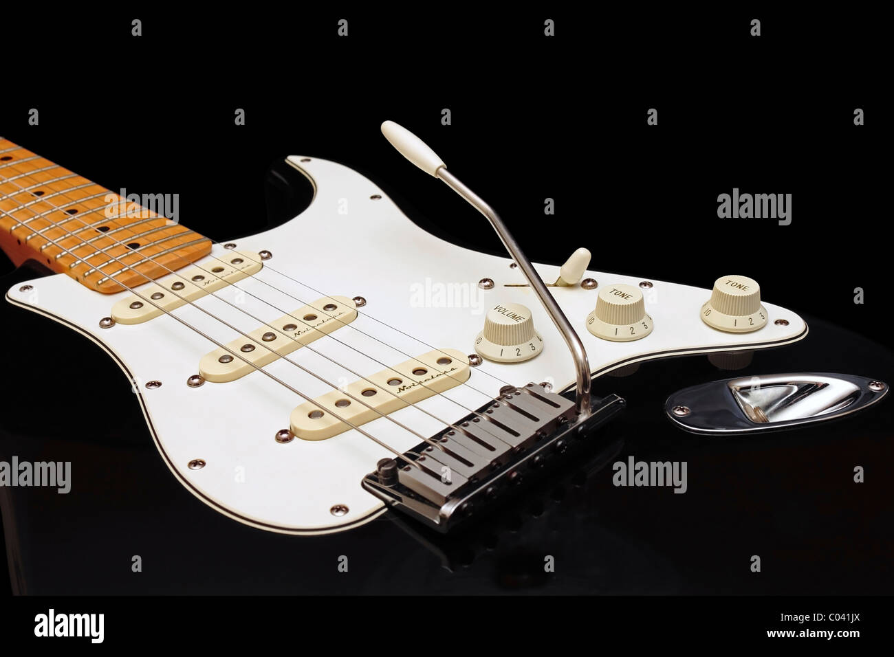 Stratocaster Stock Photos Images Alamy Wiring A Fender Fitting Pickups And Volume Tone Black American Standard With Retro Fitted Noiseless On Background