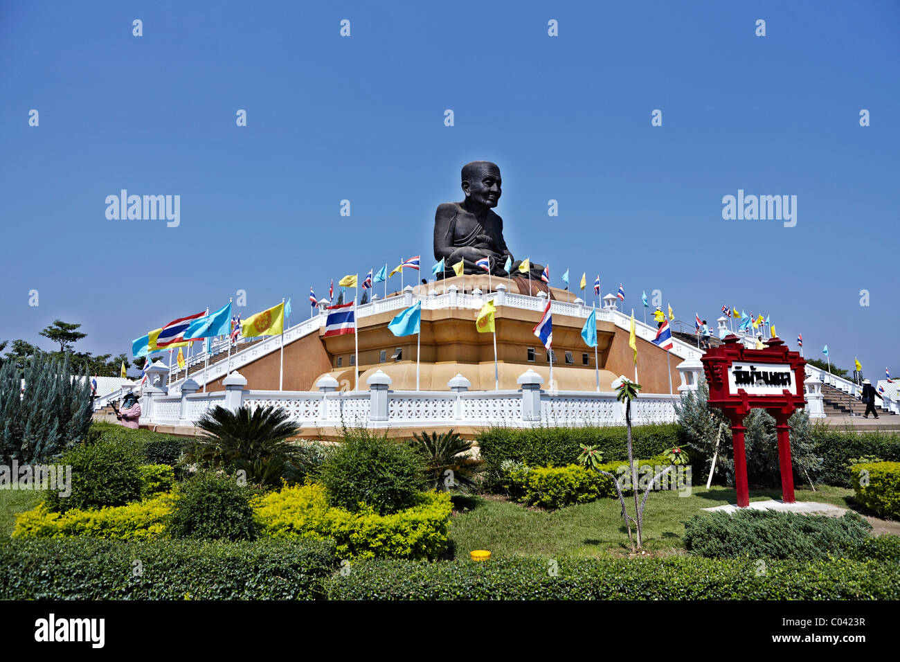 The giant statue of revered monk Luang Pu Thuat at Wat Huay Mongkol Hua Hin Thailand Asia measuring some 31.5 feet - Stock Image