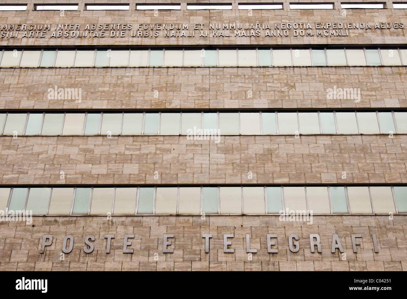 Post office, Libertà square, Alessandria, Italy - Stock Image