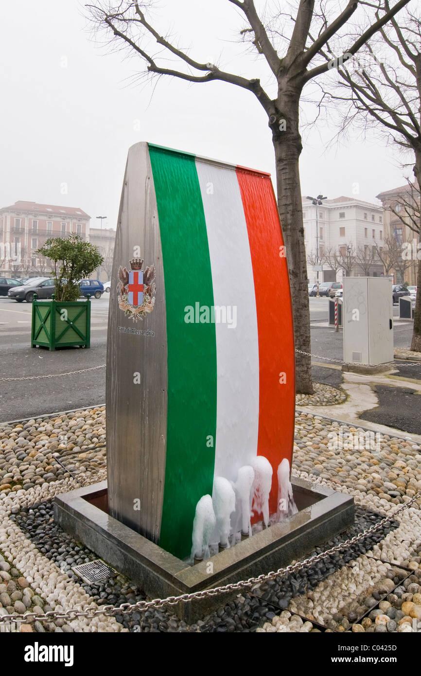 Tricolor fountain, Libertà square, Alessandria, Italy - Stock Image