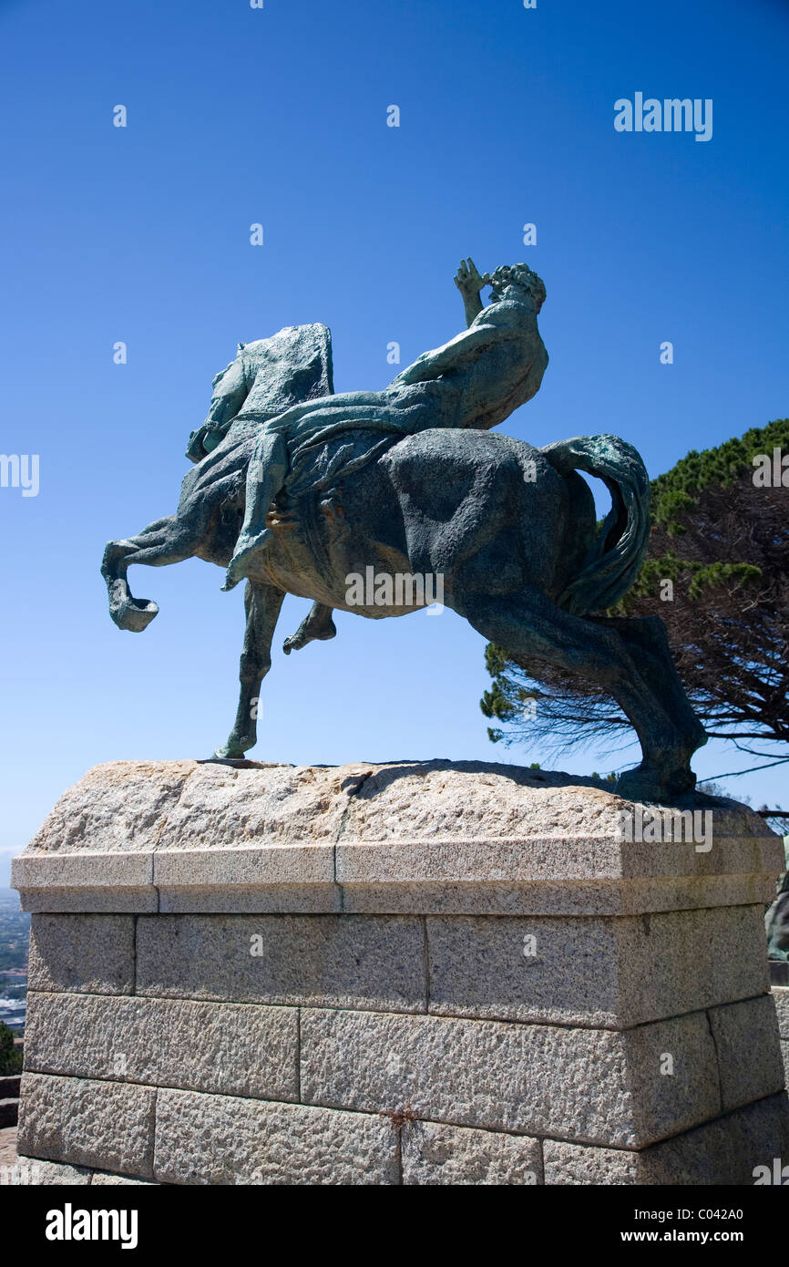 The 'Energy' statue (man on horseback) at Rhodes Memorial in Cape Town Stock Photo