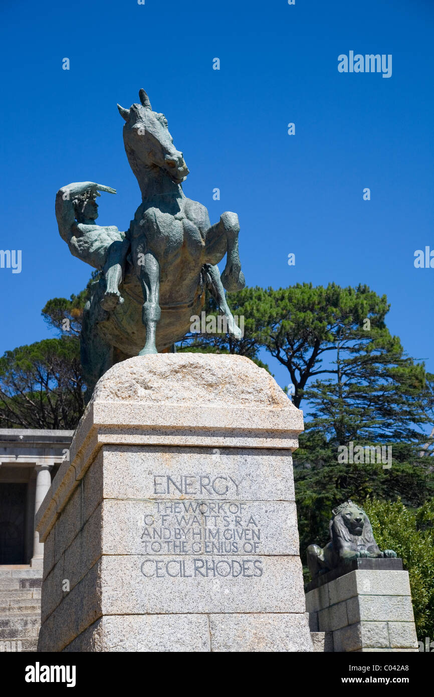 Rhodes Memorial, the 'Energy' statue (man on horseback)in Cape Town Stock Photo