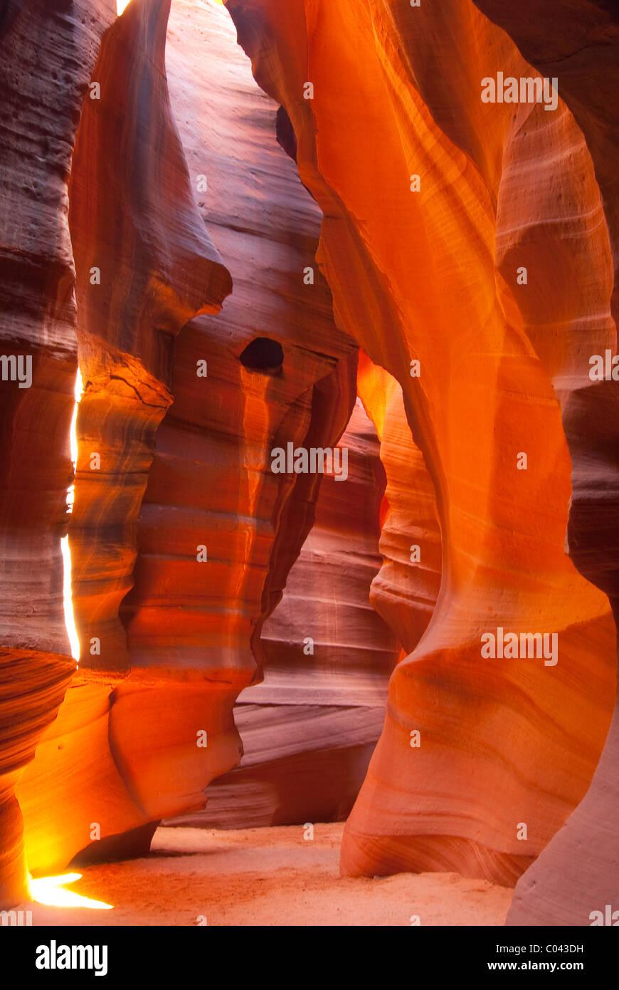Beautiful games of colors and light at Upper Antelope Canyon, Arizona - Stock Image