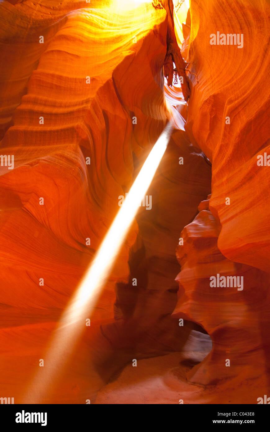 Beautiful games of colors and light at Upper Antelope Canyon, Arizona Stock Photo