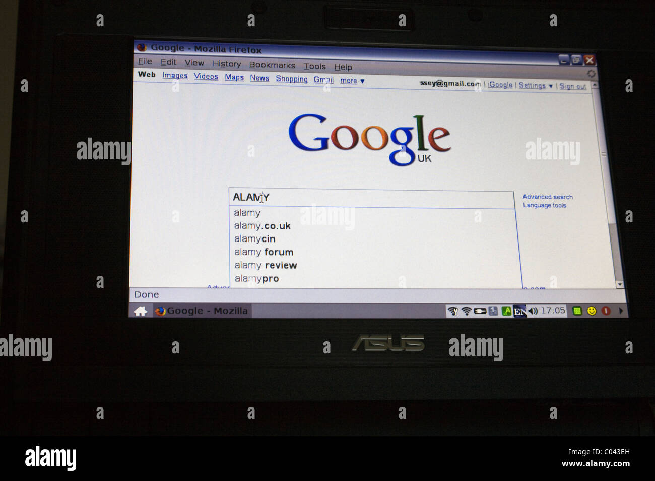Close up computer screen using Google Mozilla Firefox search