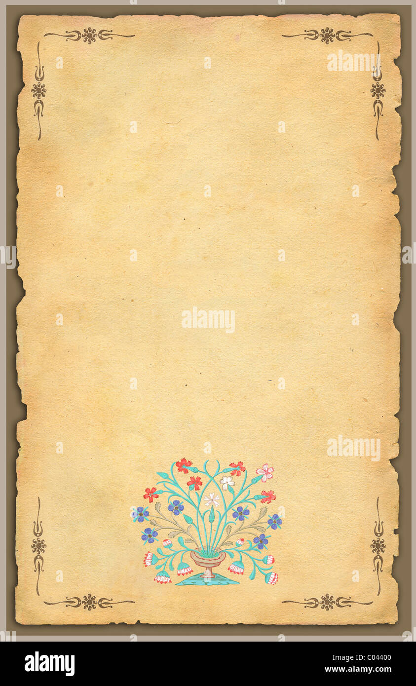 Old paper with floral pattern - Stock Image