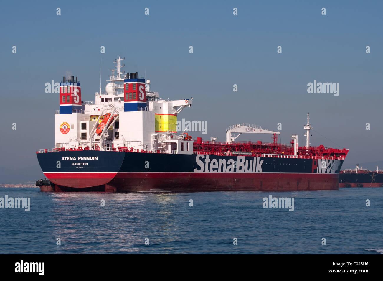 Stena Bulk tanker anchored in the bay of Gibraltar - Stock Image