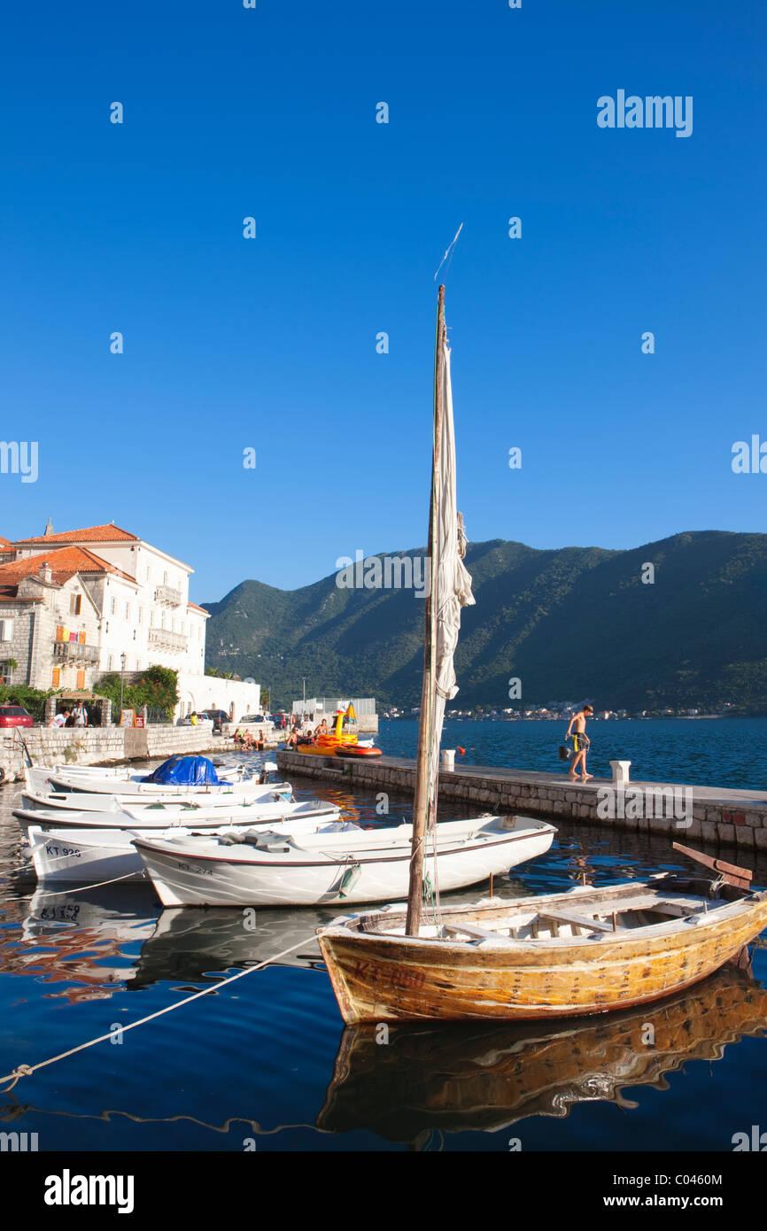 Moored boats in harbour, Perast, Boka Kotorska, Montenegro - Stock Image