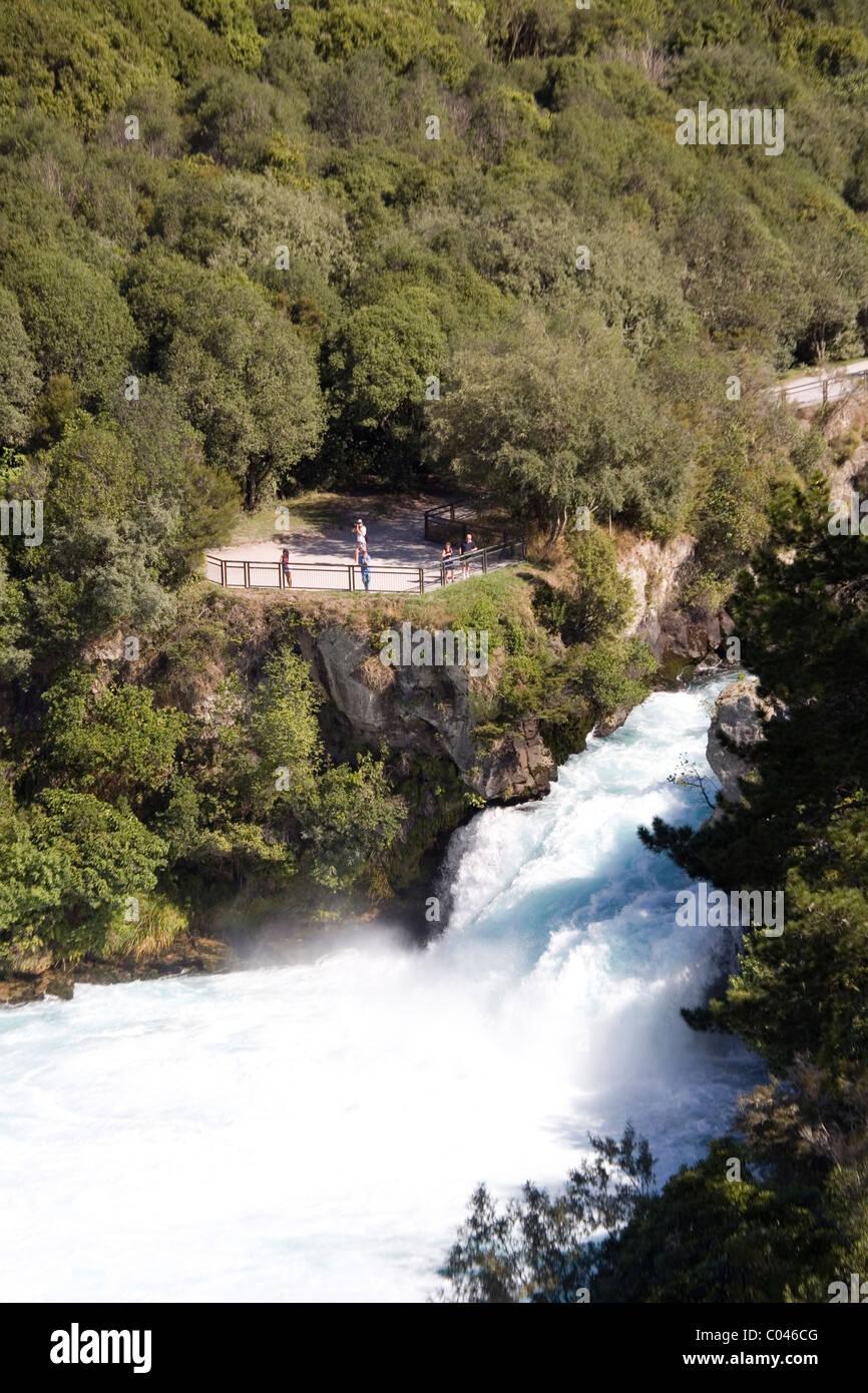 The Waikato River rushes to Huka Falls, near Taupo, New Zealand - Stock Image