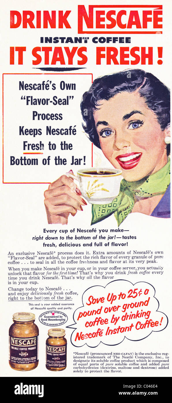 1950s advertisement in American consumer magazine for NESCAFE instant Stock Photo: 34513644 - Alamy