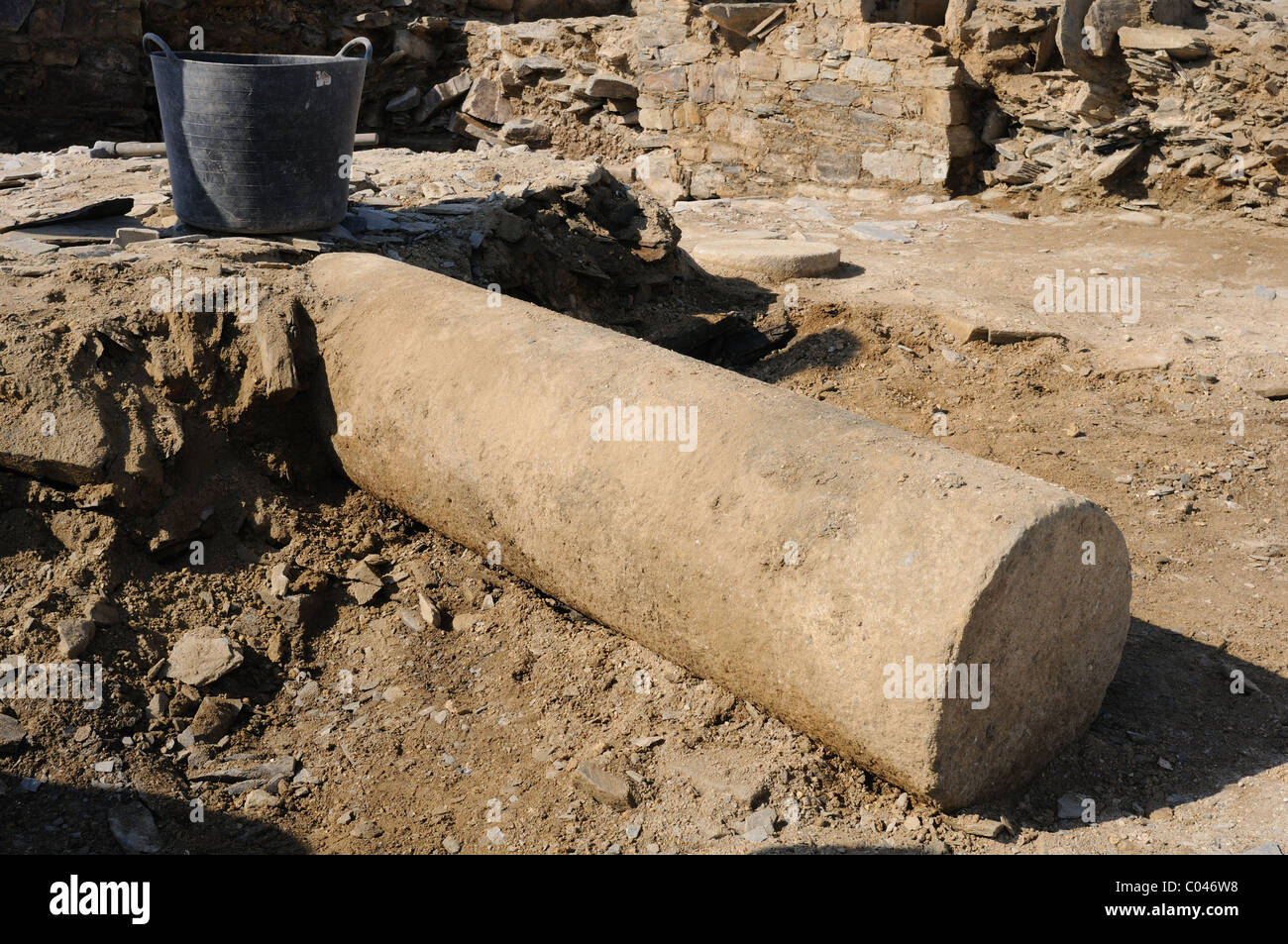 Column  in the patio of the ' Domus ' Archaeological site ' Chao Samartin ' Asturias SPAIN - Stock Image