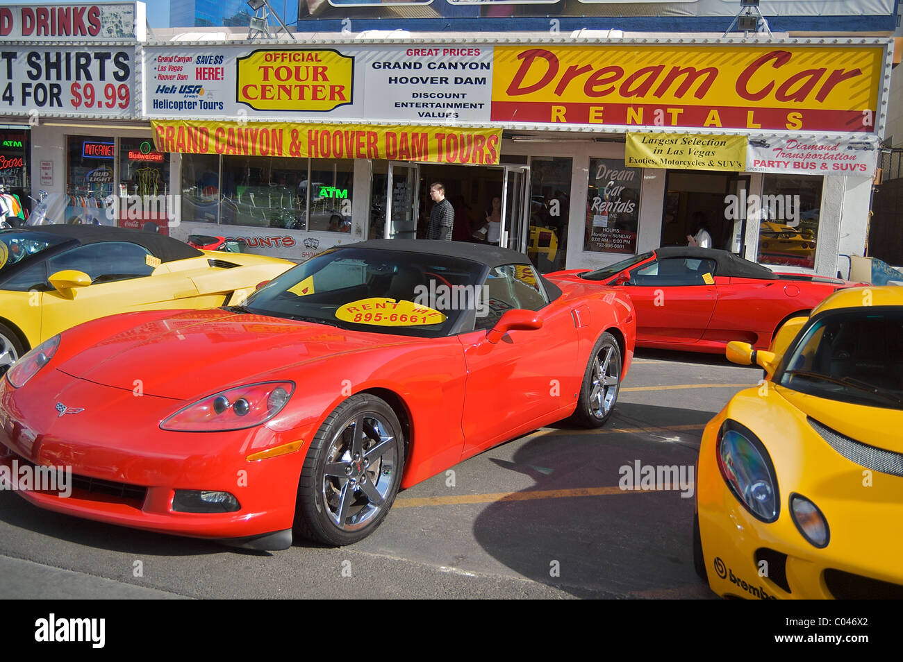 Sports cars for rent on the Las Vegas Strip - Stock Image