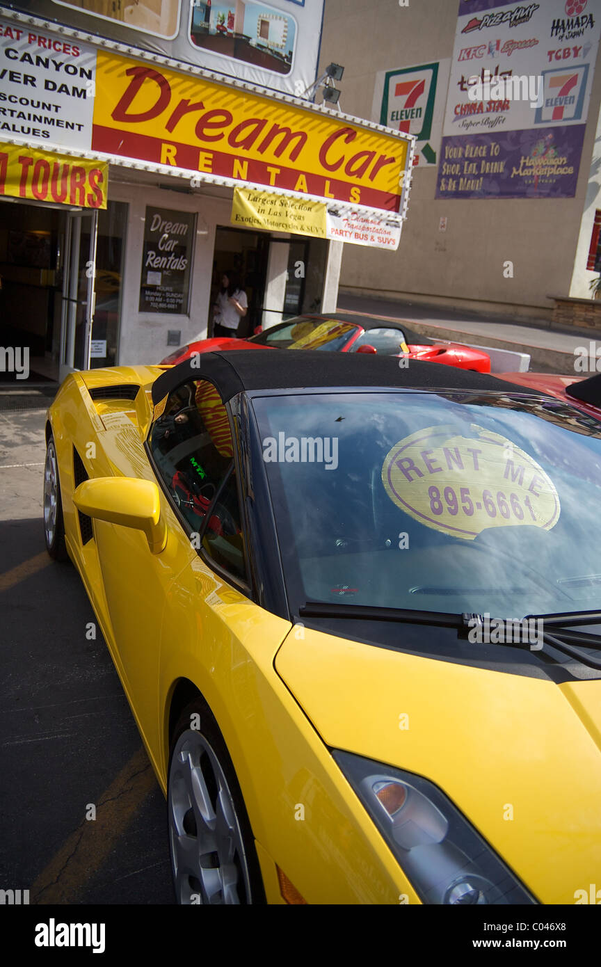 Sports Cars For Rent On The Las Vegas Strip Stock Photo Alamy