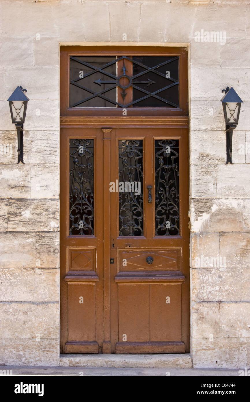 Typical French doorway in Bourdeilles popular tourist destination near Brantome in Northern Dordogne, France - Stock Image