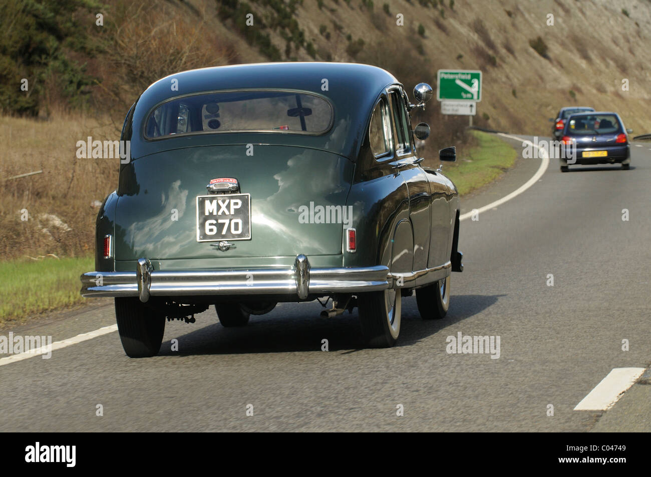 Vauxhall Vanguard vintage car travelling along the A3 close to Stock ...