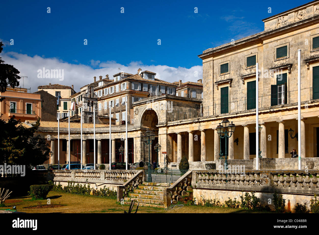 The 'Palace of Saints George & Michael' at the edge of Spianada and Liston, Corfu (or 'Kerkyra') - Stock Image
