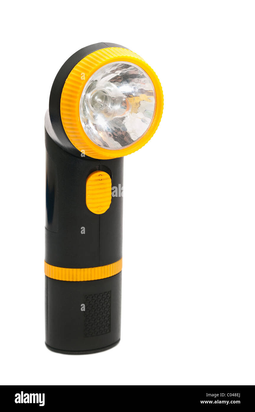 Yellow and black handle electric torch (pocket) flashlight isolated on white background - Stock Image